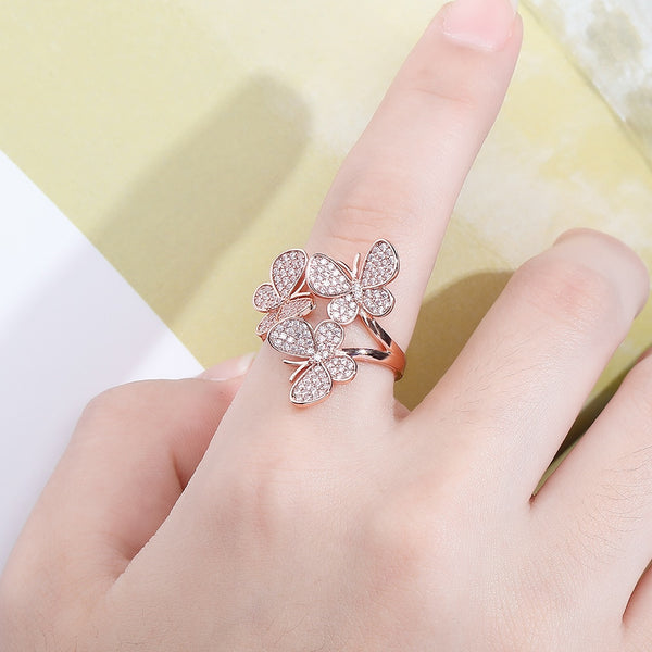 Y/W/R Gold, Diamond Butterfly Adjustable Ring