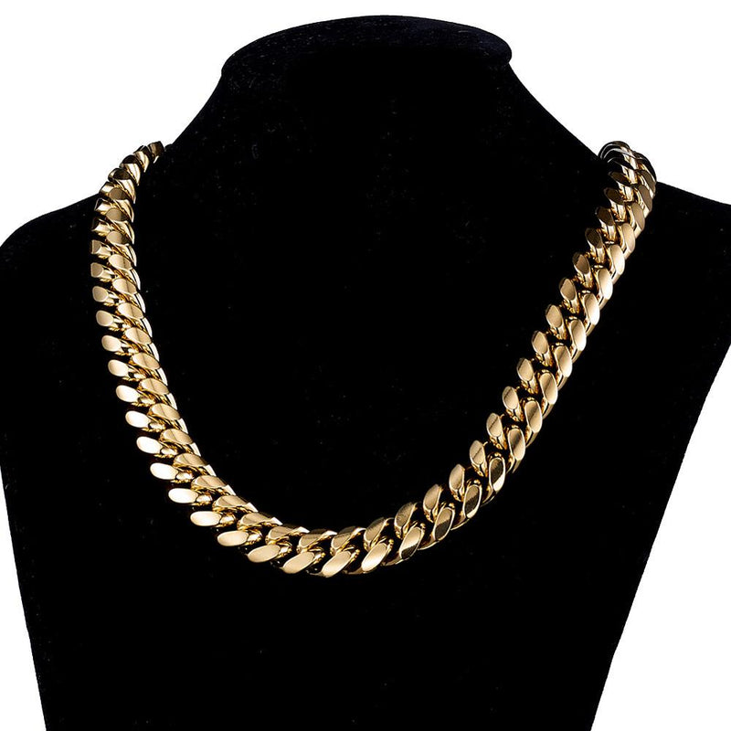 All Yellow Gold Cuban Link Chains 6MM/10MM/14MM/18MM