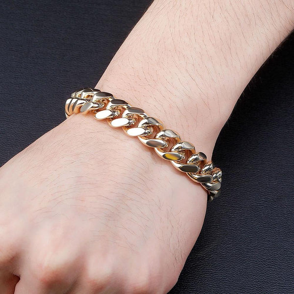10mm Gold Cuban link Bracelet