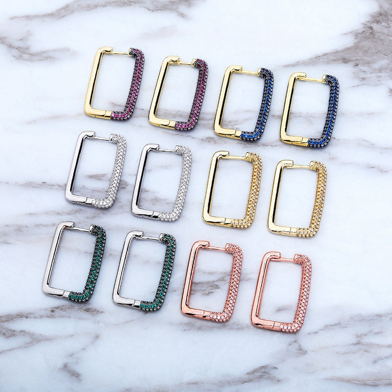 6 Colored Square Earrings