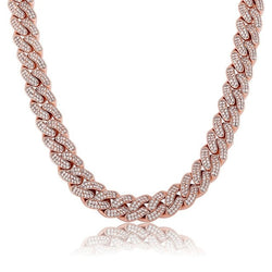 14MM Iced Out Cuban Link Chain, Pink gold