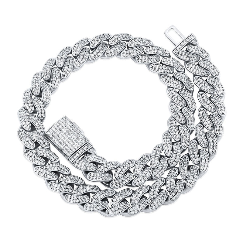14MM Iced Out Cuban Link Chain, White Gold