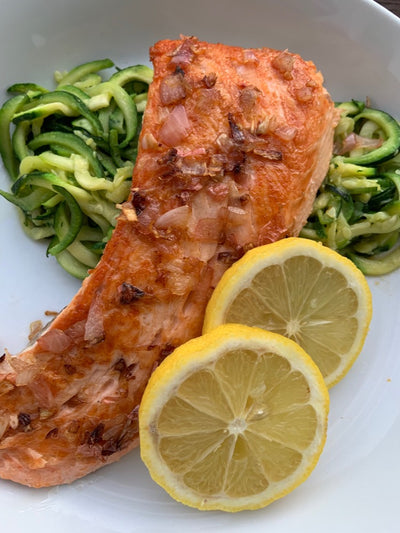 Seared Gulf Of Maine Salmon | Topped with a Lemon, Shallot, Butter Sauce