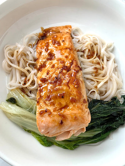 Sweet & Sour Salmon with Bok Choy & Rice Noodles