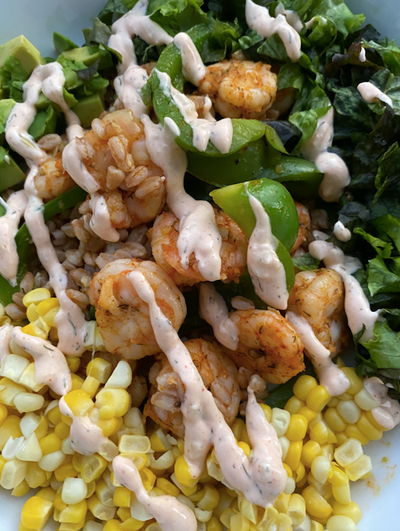 Wild Gulf Shrimp | Vegetable Grain Bowl Topped with a Dill, Lemon, & Garlic Aioli