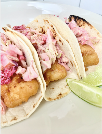 Fried Beer Battered Haddock with Cranberry Apple Slaw Tacos