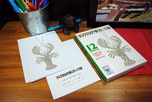 "12 Pack ""LOBSTER CHRISTMAS LIGHTS"" Note Cards - Lobstering Is An Art"