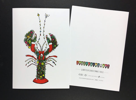 """Lobster Christmas Tree"" Note Cards"
