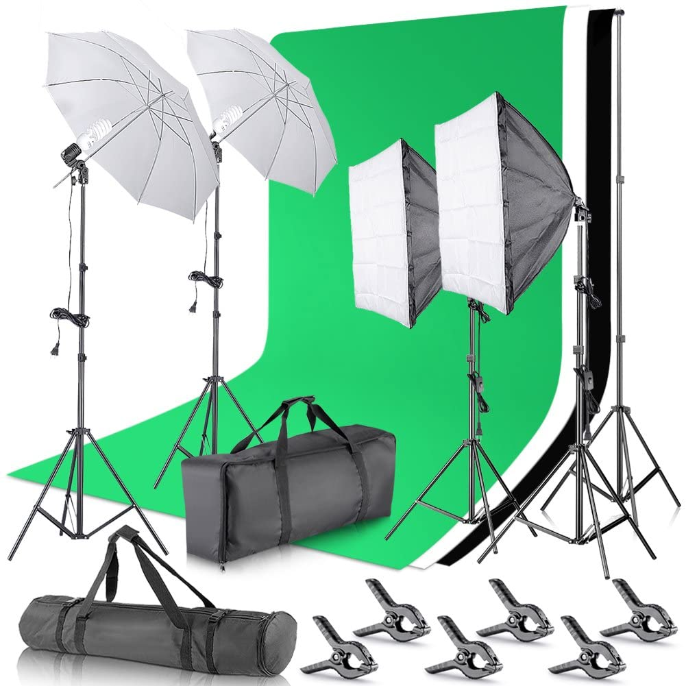 Porta fondo para Fotografía y Video Croma Key Green Screen Pantalla Verde Neewer, de 8.5 x 10 pies y equipo de iluminación continua de 800 W, 5500 K, softbox y sombrillas para estudio fotográfico, tomar fotografí­as y video