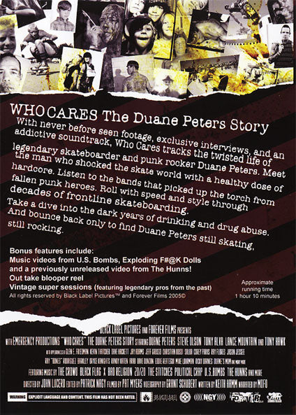 """NEW 2005 Black Label /""""WHO CARES The Duane Peters Story/"""" Skateboarding Video DVD"""
