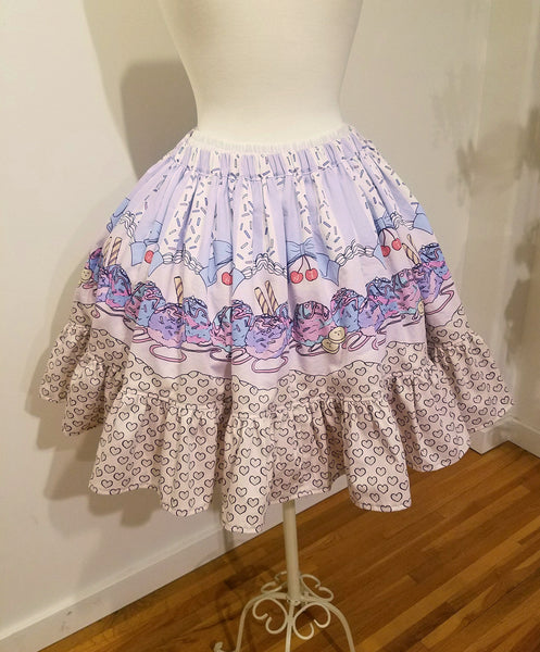 Sundae Parade Organic Cotton Skirt in Pink/Sax/Lavender Full Elastic Waist