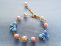 Sweet Bow Bracelet in Sax x Pink