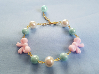Sweet Bow Bracelet in Pink x Mint