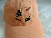Spooky Bat Black Cat Dad Hats