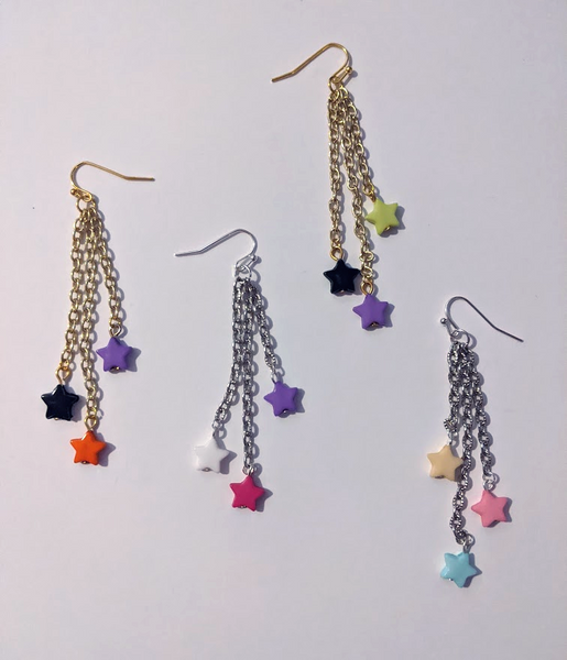 Dangly Shooting Star 3-Tier Earrings (Choose your colors!)