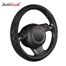 Load image into Gallery viewer, Car Steering Wheel Cover Pu Leather Universal Fit 37 to 38CM Sport Grip Honeycomb Design Breathable Antiskid Sporty Racing Style
