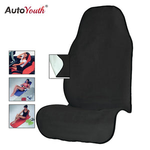 AUTOYOUTH Towel Car Seat Cover for Athletes Fitness Gym Running Beach Swimming Outdoor Water Sports Machine Washable - Black