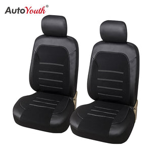AUTOYOUTH 2PCSPU Leather + Fannel Car Seat Cover Airbag Compatible With Most Common Car Seat Car Interior