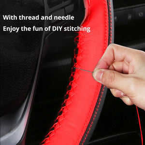 AUTOYOUTH Microfiber Leather Steering Wheel Cover Automotive Interior Accessories Decorate 15 Inch Universal Anti-Slip DIY Sport