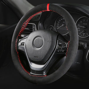 AUTOYOUTH Microfiber Leather Universal DIY Car Steering-wheel Cover Anti-Slip Sports Style 38CM Anti-catch Holder Fit Most cars