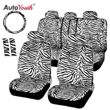 Load image into Gallery viewer, AUTOYOUTH Short Plush Luxury Zebra Seat Covers Universal Fit Most Car Seats Steering Wheel Cover Shoulder Pad White Seat Cover