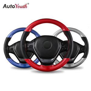AUTOYOUTH Microfiber Leather Universal DIY Car Steering-wheel Cover 38CM Anti-Slip Sport Auto Steering Wheel Covers 15 inch