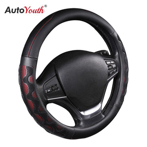 AUTO 1PCS Red Wave Steering Wheel Cover PU Leather Fashion Design Non-Slip Universal For 37-38 CM Steering Wheel Car Interior