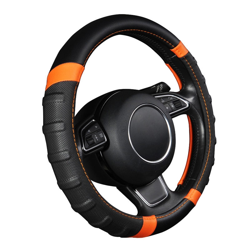 Car Steering Wheel Cover Breathable and Non Slip Microfiber Leather Steering Wheel Cover Universal 38cm/15 inch Orange and Black (Black-Orange)