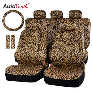 "AUTOYOUTH Luxury Leopard Print Car Seat Cover Universal Fit  Seat Belt Pads,and 15"" Universal Steering Wheel Car Seat Protector"