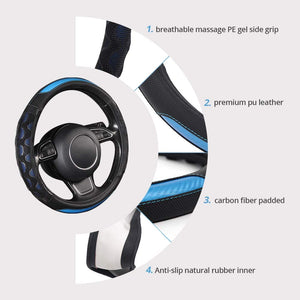 Car Steering Wheel Cover Pu Leather Universal Fit 37 to 38CM Sport Grip Honeycomb Design Breathable Antiskid Sporty Racing Style
