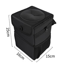 Load image into Gallery viewer, Car Trash Can Car Folding High Quality Car Trash Can Waterproof Liner Creative Trash Oxford Material, Washable and Durable Black