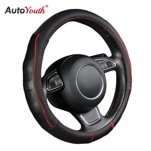 AUTOYOUTH Stereos Breathable Black Cowhide Car Steering Wheel Cover Splice Red Durable Sewing Thread Fit 38cm/15 inch Diameter