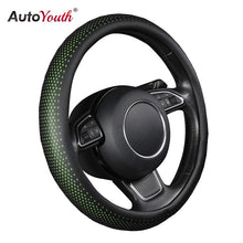 Load image into Gallery viewer, AUTOYOUTH New PU Leather Car Steering Wheel Cover Non-slip Car Interior 38 CM Green/Black For peugeot 206 scirocco passat b5