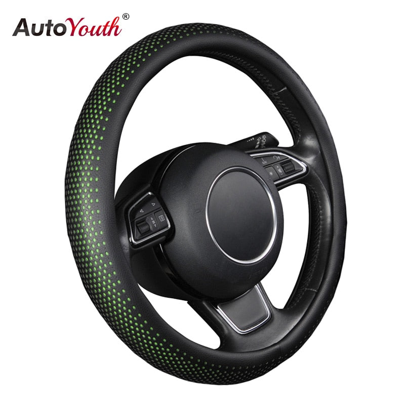AUTOYOUTH New PU Leather Car Steering Wheel Cover Non-slip Car Interior 38 CM Green/Black For peugeot 206 scirocco passat b5