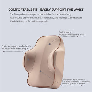 1 PCS Memory Foam Lumbar Support Back Cushion Ergonomic Lumbar Pillow Relieves Sciatica Pain Full Posture Corrector for Car