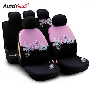 AUTOYOUTH Car Seat Covers For Women Universal Fit Most Cars And Airbag Compatible Pink Color With Flower Embroidery
