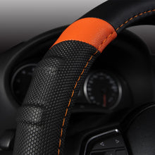 Load image into Gallery viewer, Car Steering Wheel Cover Breathable and Non Slip Microfiber Leather Steering Wheel Cover Universal 38cm/15 inch Orange and Black