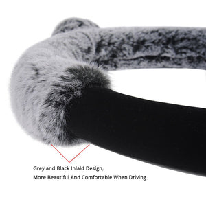 AUTOYOUTH Winter Steering Wheel Cover Plush Fur Cute Warm Long Wool Plush Car Steering Wheel Covers Universal 37-38 cm/15inch