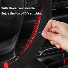 Load image into Gallery viewer, AUTOYOUTH Microfiber Leather Universal DIY Car Steering-wheel Cover Anti-Slip Sports Style 38CM Anti-catch Holder Fit Most cars