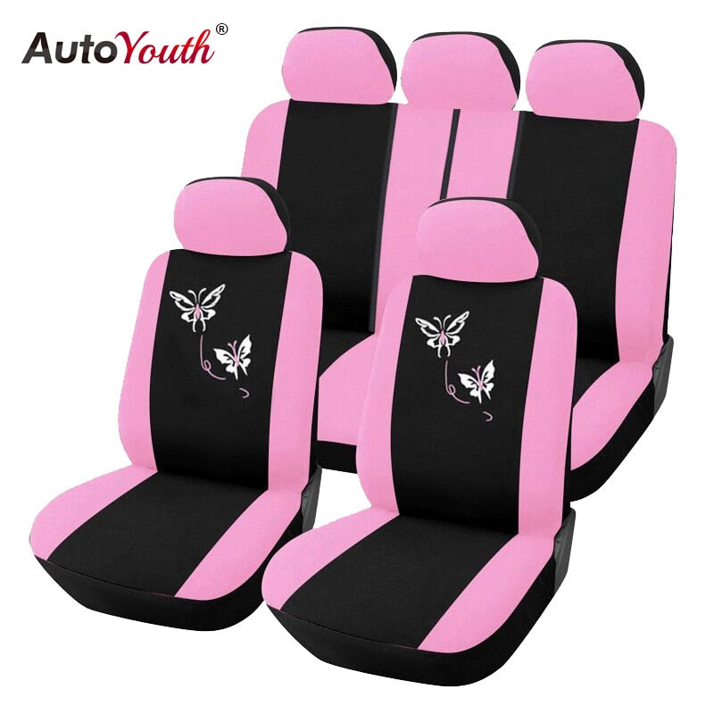 AUTOYOUTH New Arrival Pink Car Seat Covers Butterfly Embroidery Car-Styling Woman Seat Covers Automobiles Interior Accessories