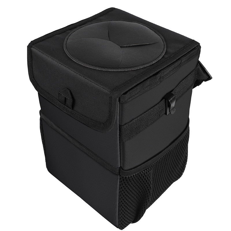 Car Trash Can Car Folding High Quality Car Trash Can Waterproof Liner Creative Trash Oxford Material, Washable and Durable Black (Black)
