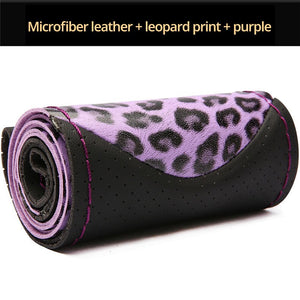 Leopard Style Steering Wheel Covers Soft Leather Fashion The Steering Wheel Cover Of Car Interior Accessories