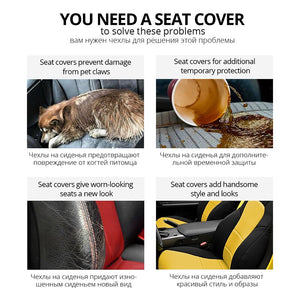 AUTOYOUTH Sports Car Seat Cover Universal Classic Seat Cover Seat Protector Car Styling Seat Covers Full Set for Toyota Black