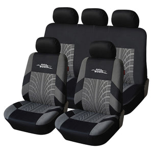 AUTOYOUTH 9PCS Car Seat Covers Set Universal Fit Most Car covers with Tire Track Detail Styling Car Seat Protector Four Seasons