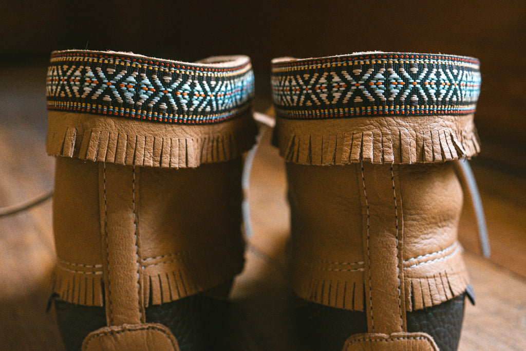 Indian braid top of moccasin boots by Laurentian Chief