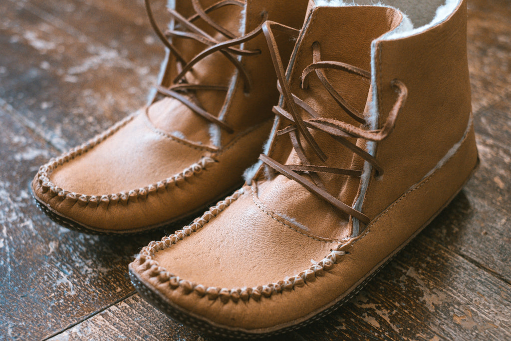 close up of moose hide authentic earthing moccasin boots