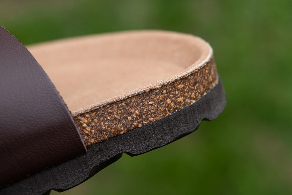 close up of cork foot-bed Birkenstock style biotime sandals