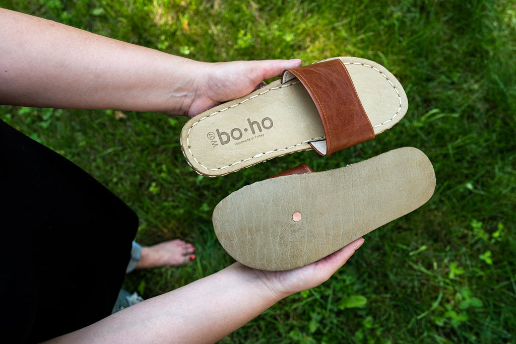 custom earthing slides sandals with copper rivet in sole