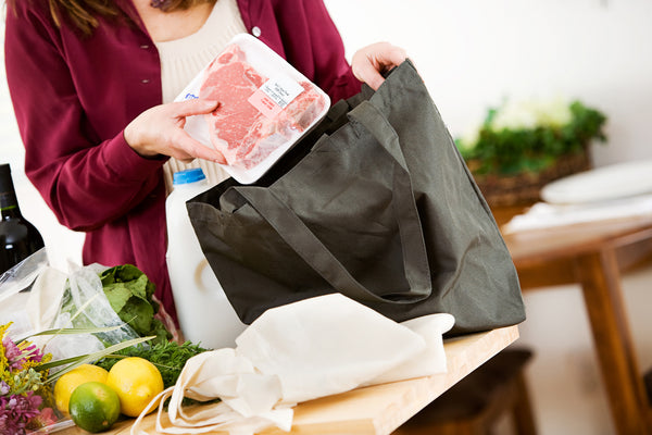 Picture of Unpacking Meat from Re-Usable Shopping Bag Reducing Plastic Use
