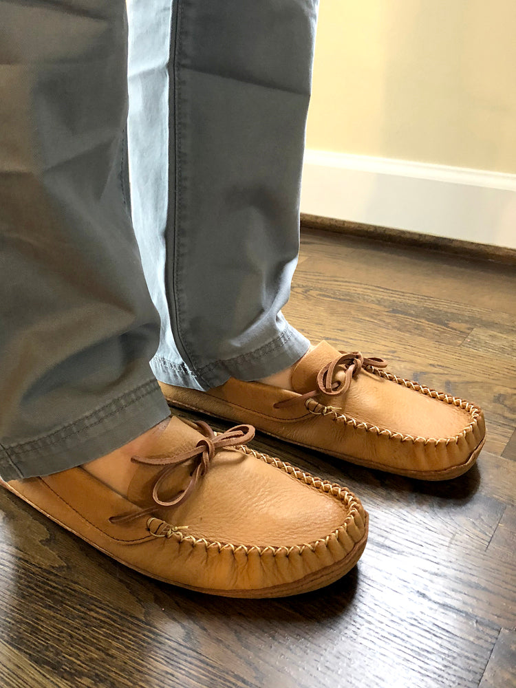 a550ec54280aa Men's Wide Width Natural Soft Leather Sole Earthing Moccasin Shoes ...